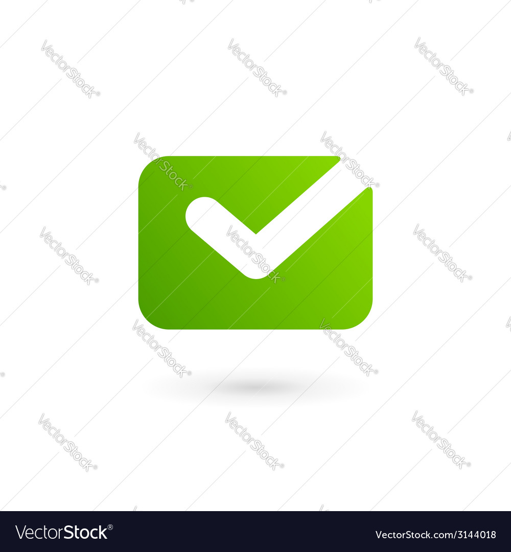 Email envelope tick logo icon design template vector