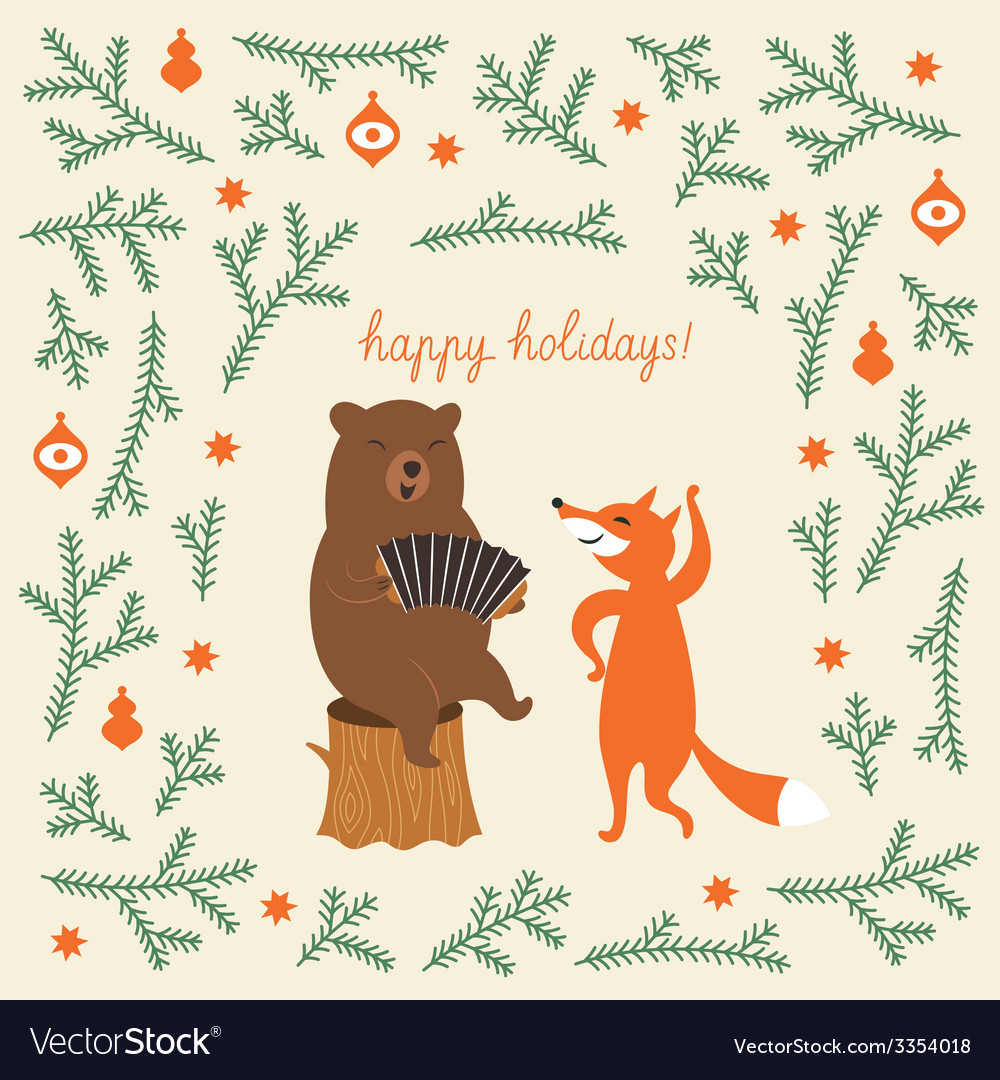 Greeting christmas card a bear and a cute fox vector | Price: 1 Credit (USD $1)