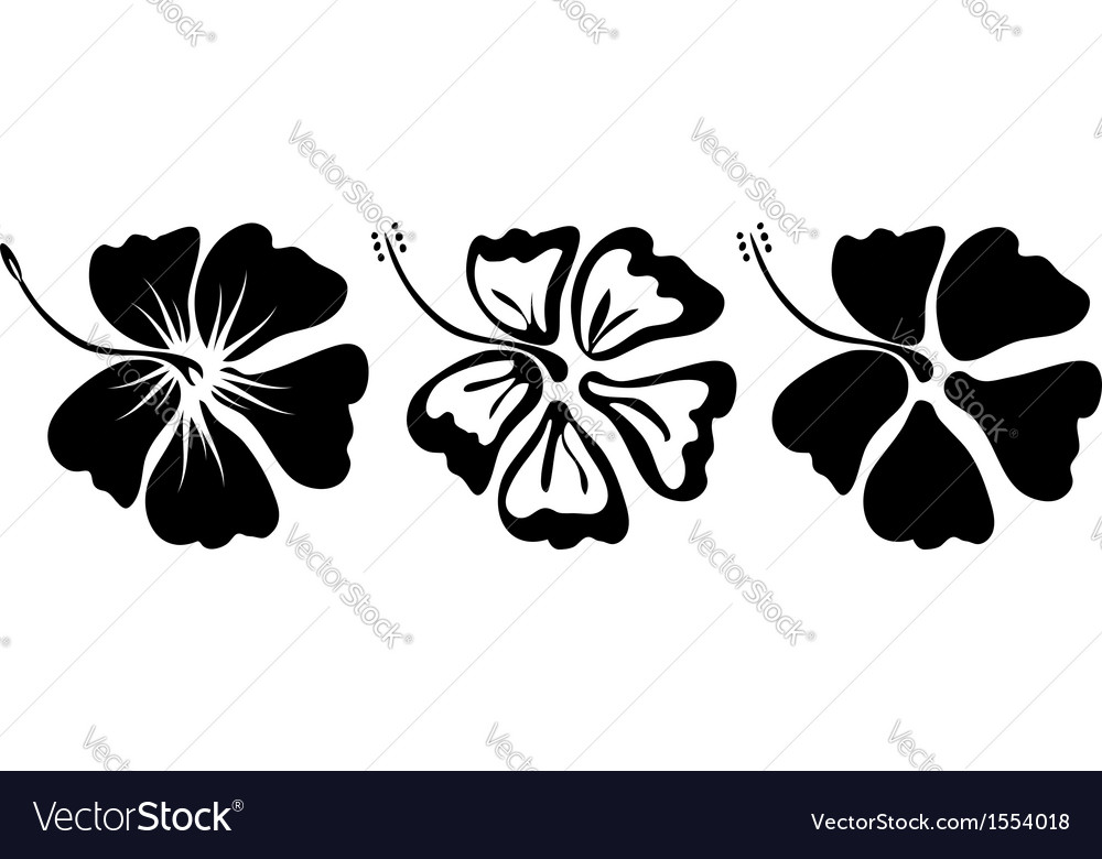 Hibiscus silhouettes set vector | Price: 1 Credit (USD $1)