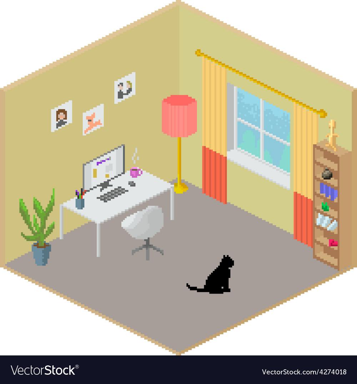 Isometric room interior vector | Price: 1 Credit (USD $1)