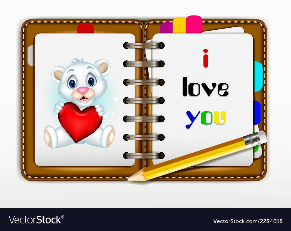 Notepad for you design with i love you words for y vector | Price: 1 Credit (USD $1)
