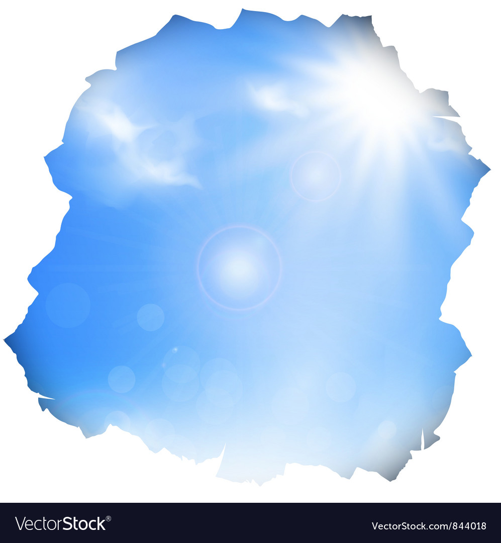 Paper hole with blue sky and sun vector | Price: 1 Credit (USD $1)