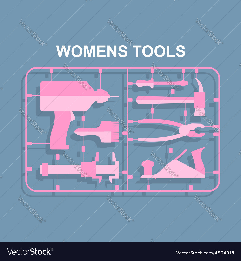 Pink tools set for women plastic model kits for vector | Price: 1 Credit (USD $1)