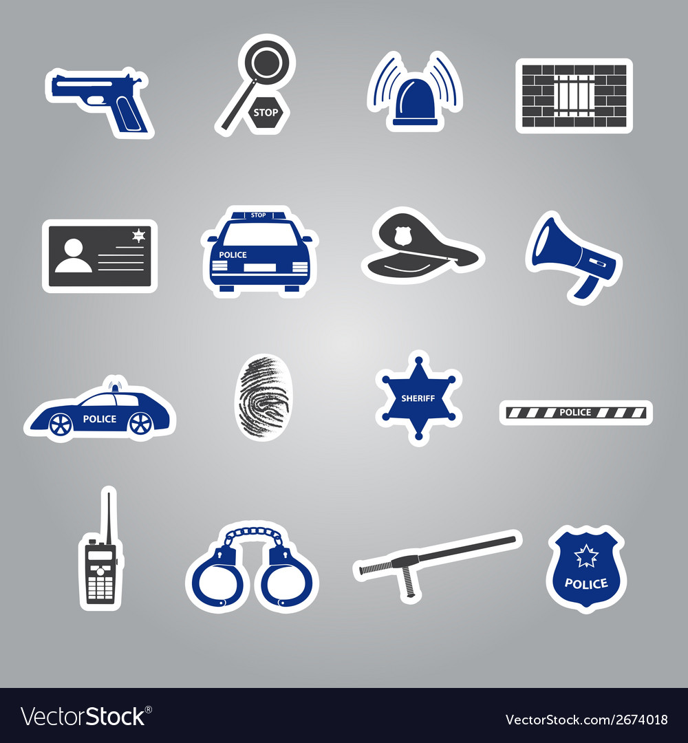 Police stickers set eps10 vector | Price: 1 Credit (USD $1)