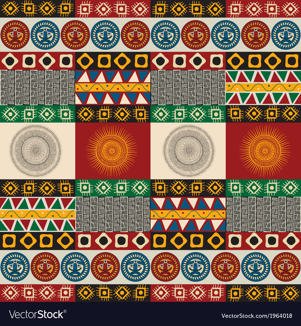 Seamless mayan aztec pattern vector | Price: 1 Credit (USD $1)
