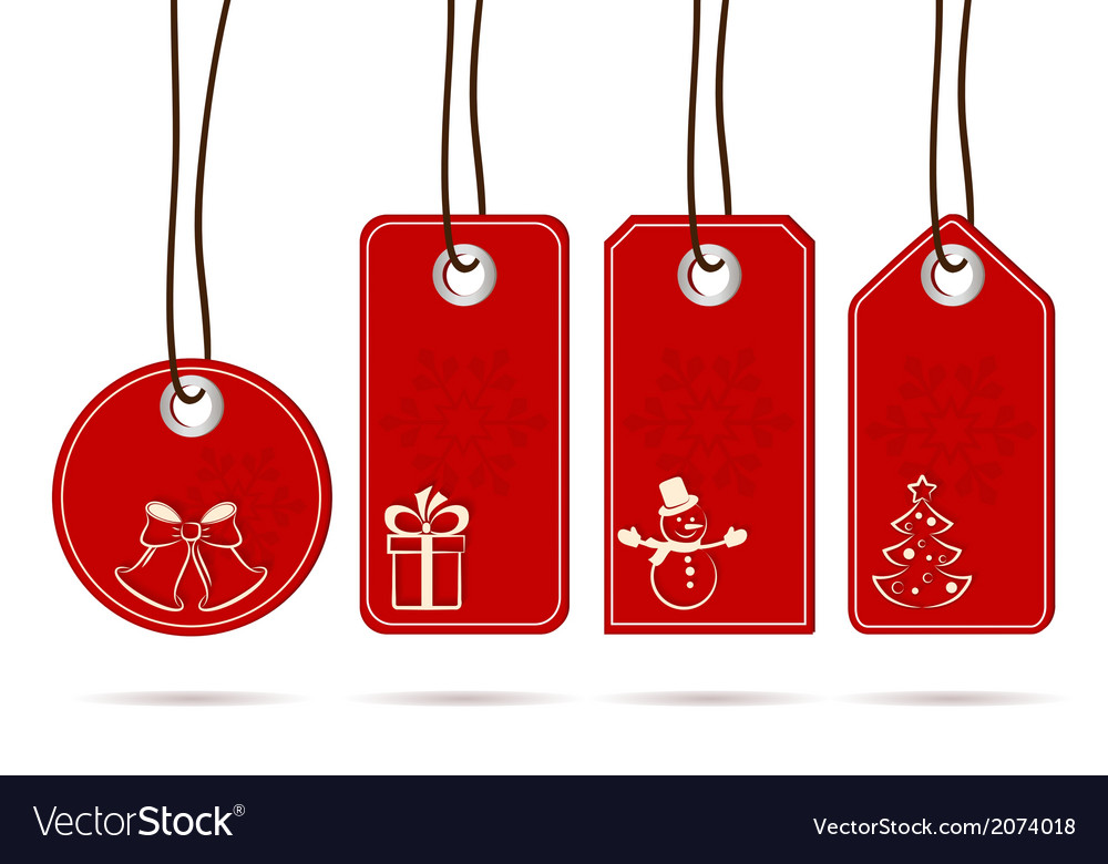 Set of hanging red tags with christmas motifs vector | Price: 1 Credit (USD $1)