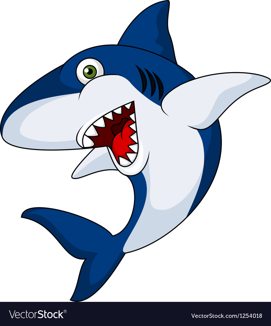 Smiling shark cartoon vector | Price: 1 Credit (USD $1)