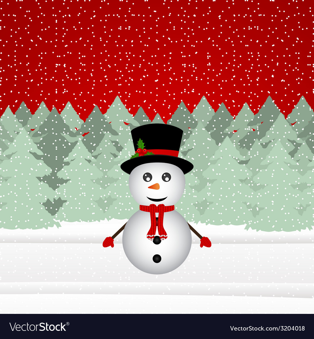 Snowman in a christmas forest vector | Price: 1 Credit (USD $1)