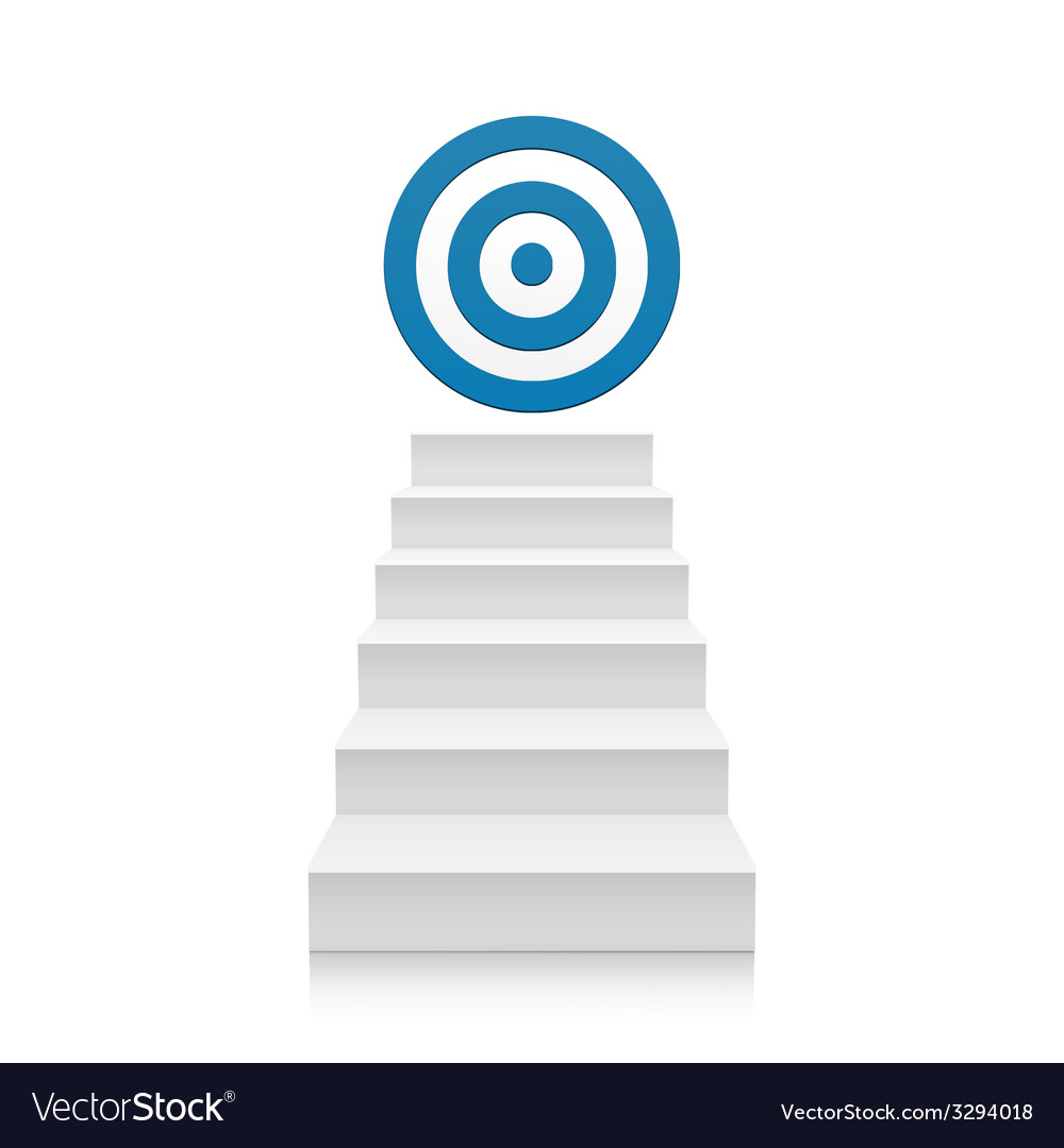 Stairs with blue target icon isolated on white vector | Price: 1 Credit (USD $1)