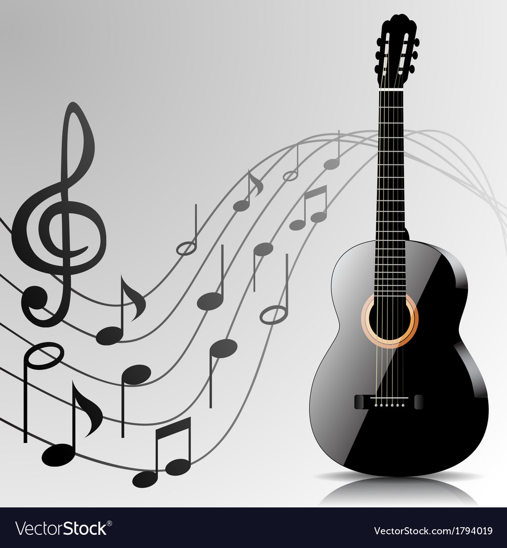 Abstract music background with guitar and notes vector | Price: 1 Credit (USD $1)