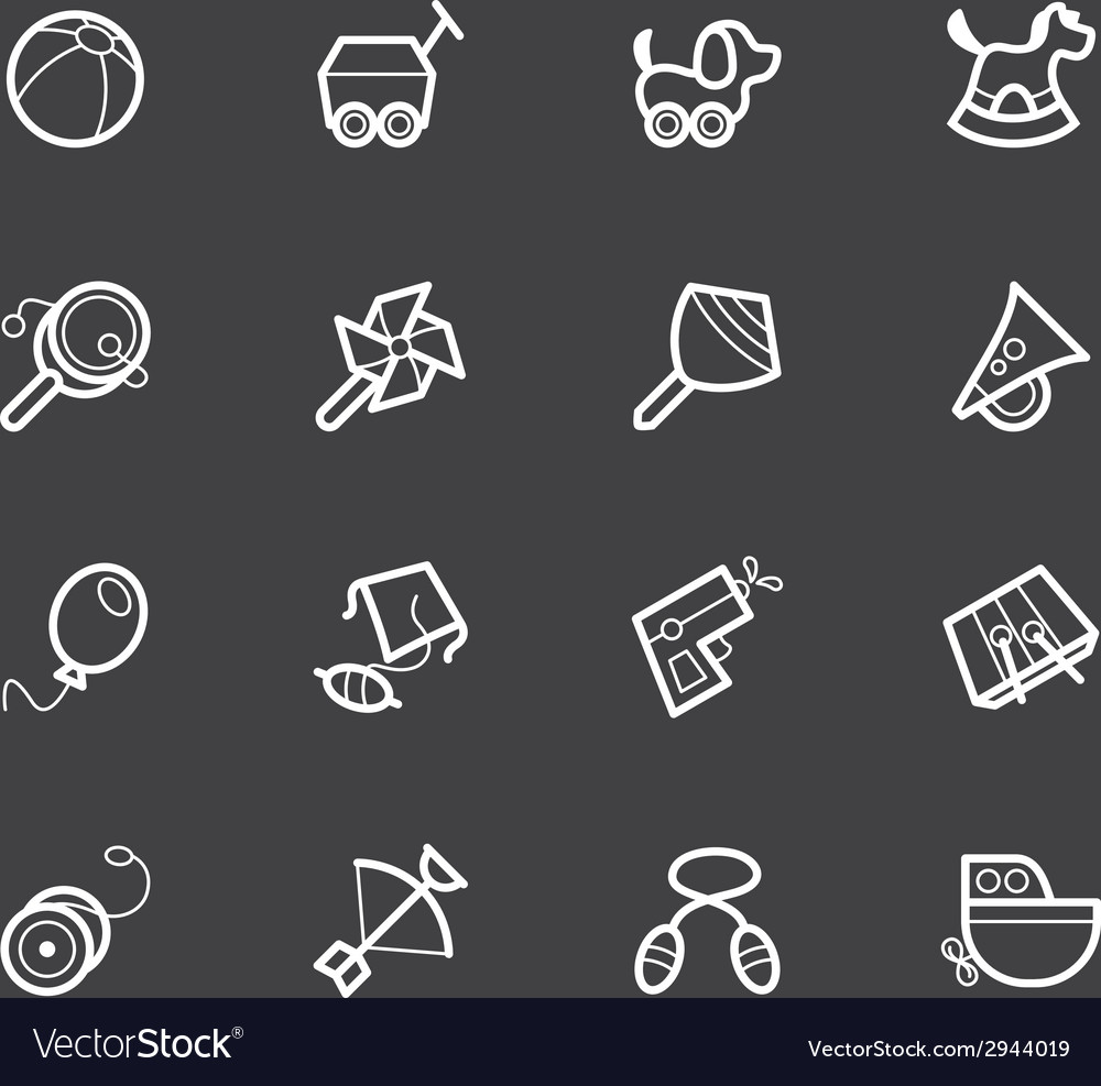 Baby toys white icon set on black background vector | Price: 1 Credit (USD $1)
