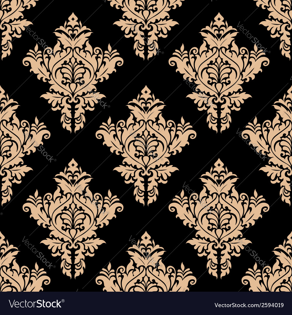Beige and black seamless floral pattern vector | Price: 1 Credit (USD $1)