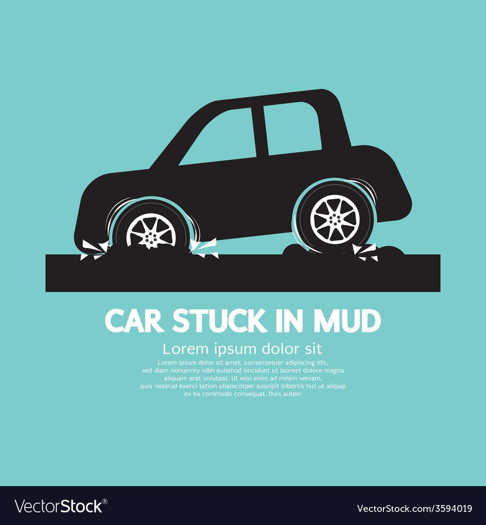 Car stuck in mud vector | Price: 1 Credit (USD $1)