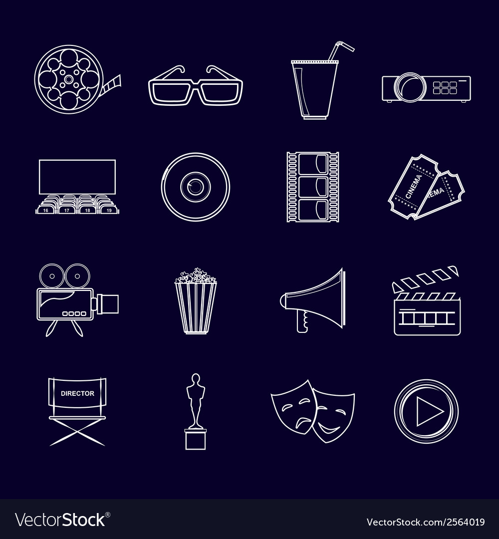 Cinema icons set outline vector | Price: 1 Credit (USD $1)