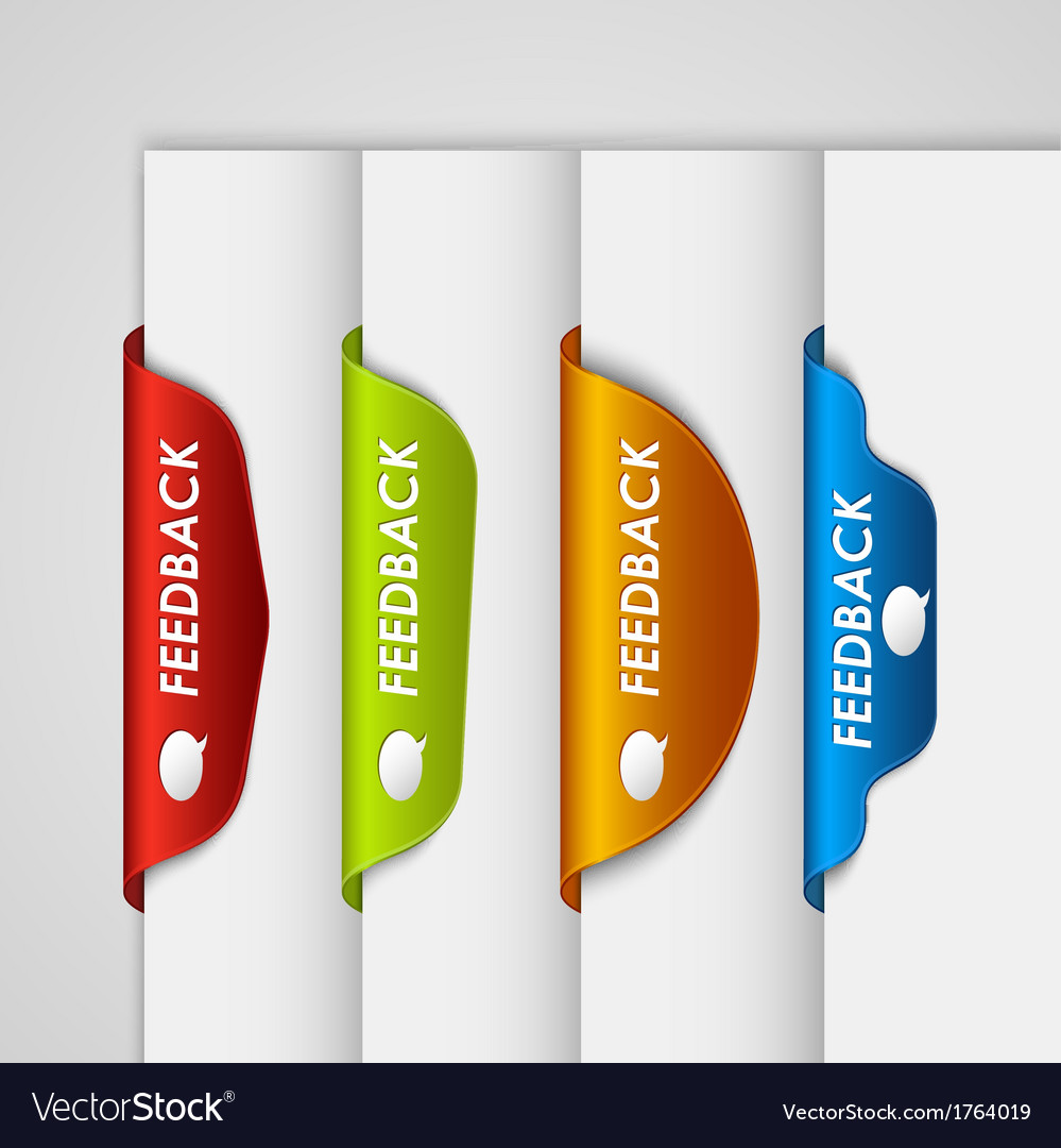 Color label bookmark feedback on the edge of web vector | Price: 1 Credit (USD $1)