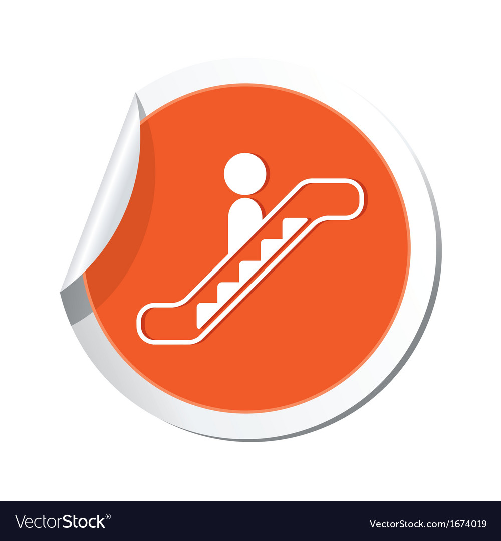 Escalator icon orange sticker vector | Price: 1 Credit (USD $1)