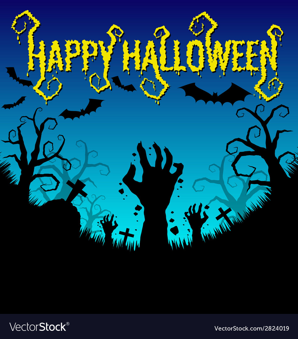 Halloween background with zombies hand and bat vector | Price: 1 Credit (USD $1)