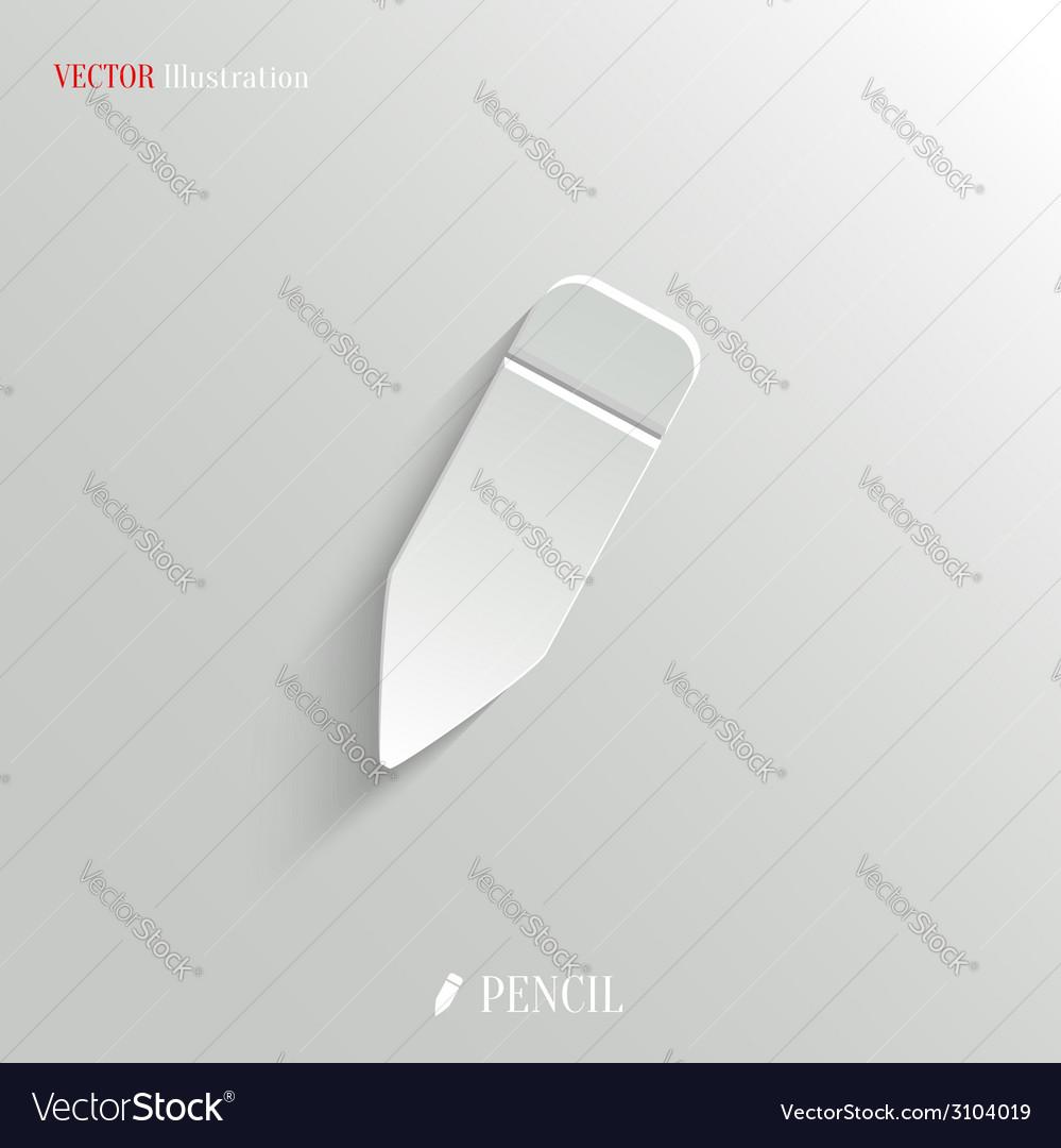 Pencil icon - white app button vector | Price: 1 Credit (USD $1)
