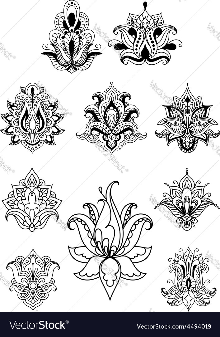 Persian or indian paisley flowers set vector | Price: 1 Credit (USD $1)