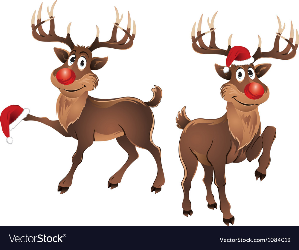 Rudolph the reindeer with christmas hat vector | Price: 3 Credit (USD $3)