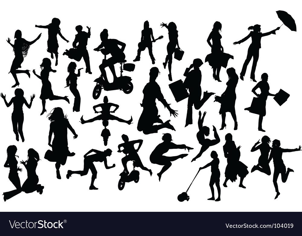 Woman in action vector | Price: 1 Credit (USD $1)