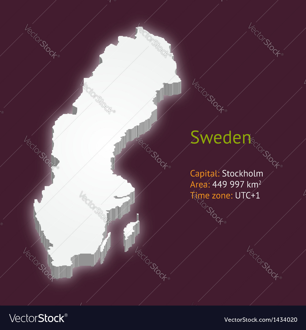 3d map of sweden vector | Price: 1 Credit (USD $1)