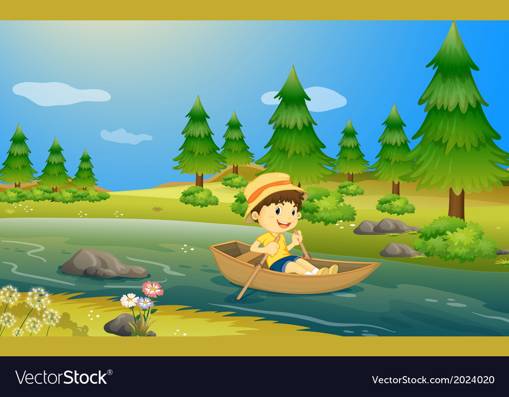 A boy riding a boat vector | Price: 3 Credit (USD $3)