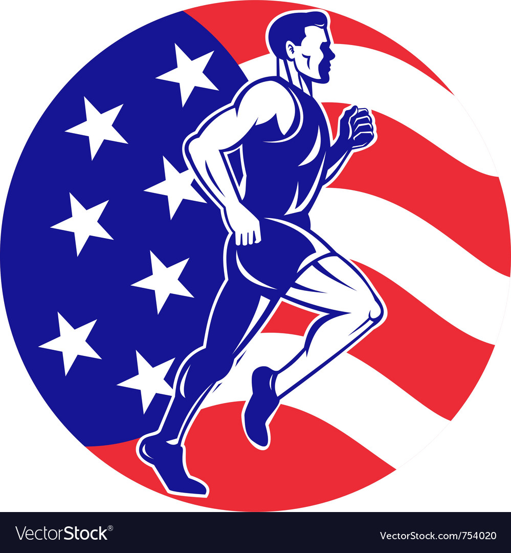 American marathon runner jogger vector | Price: 1 Credit (USD $1)
