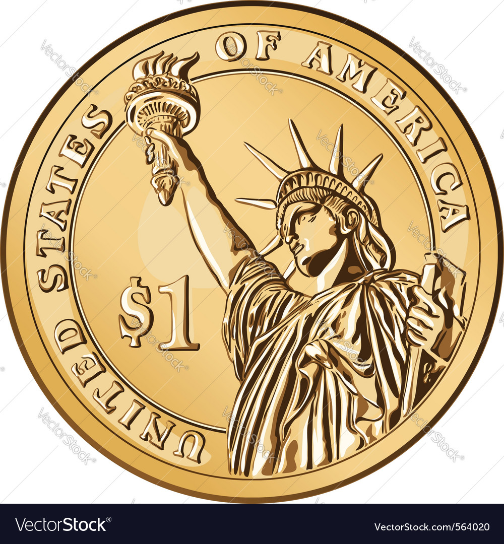 American money one dollar coin vector | Price: 1 Credit (USD $1)