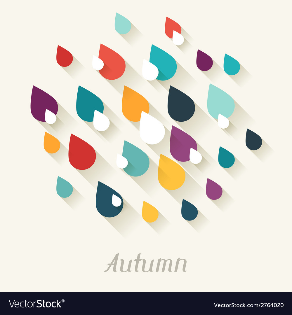 Autumn background with falling drops in flat vector | Price: 1 Credit (USD $1)