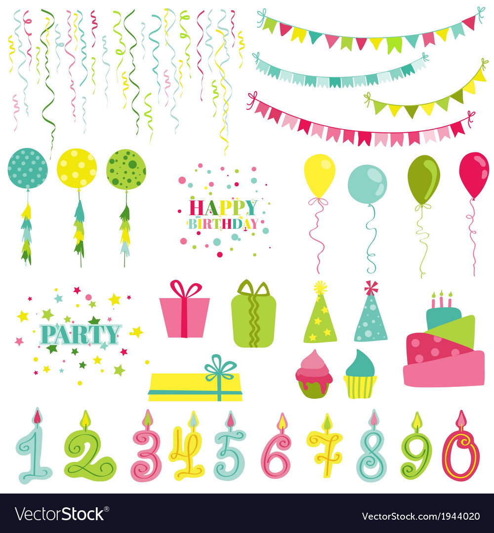 Birthday and party set vector | Price: 1 Credit (USD $1)