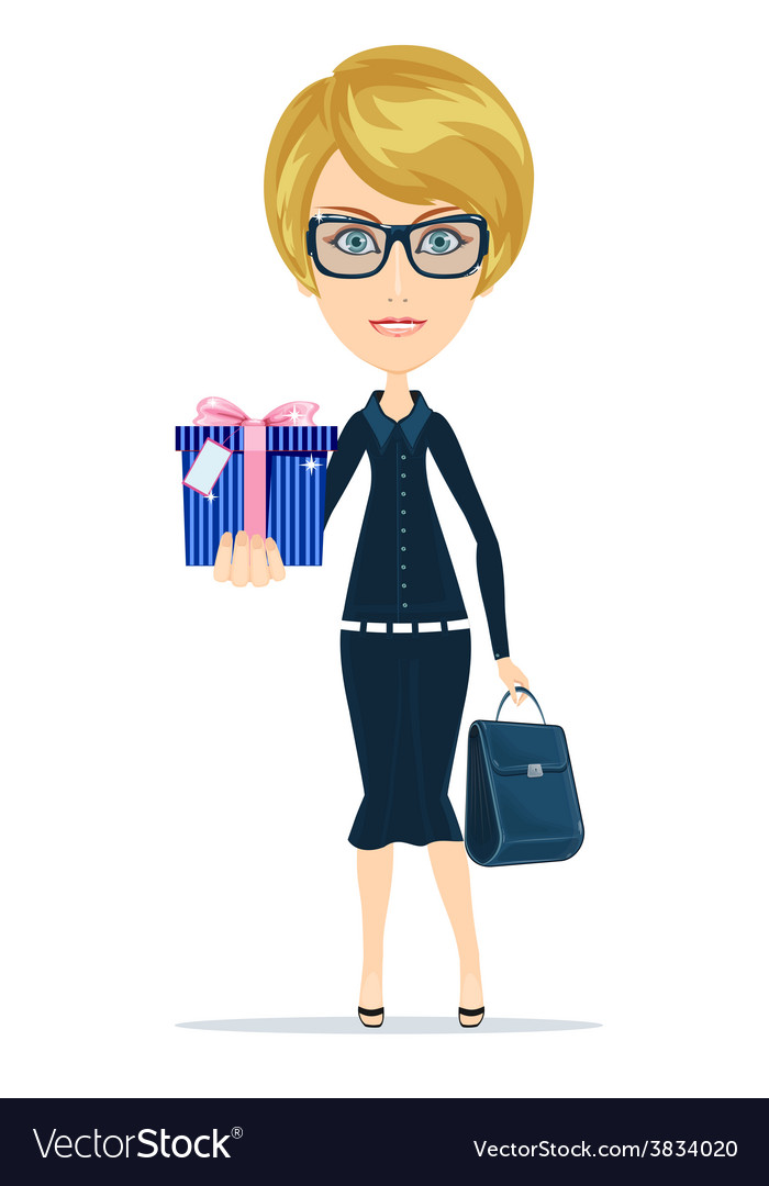 Business woman holding a gift for you vector | Price: 1 Credit (USD $1)