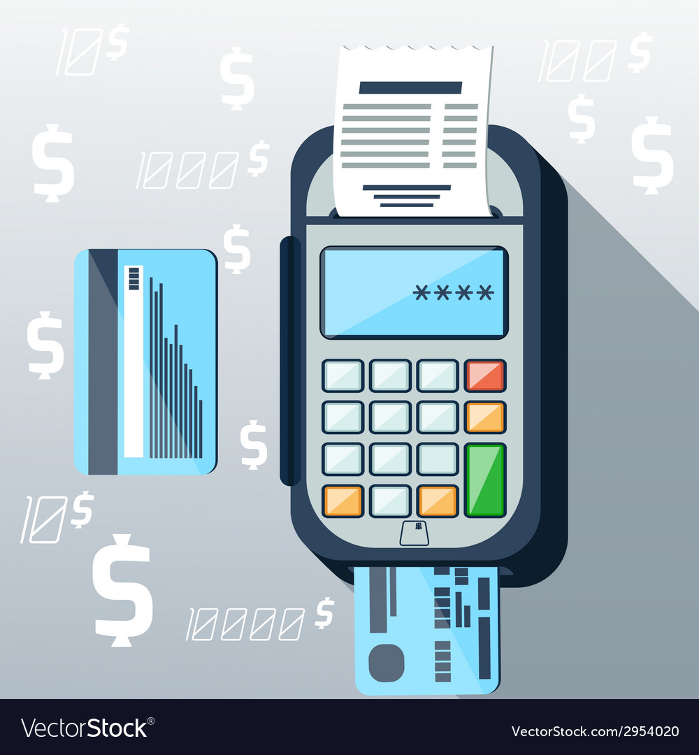 Cash mashines issues receipt of payment card vector | Price: 1 Credit (USD $1)