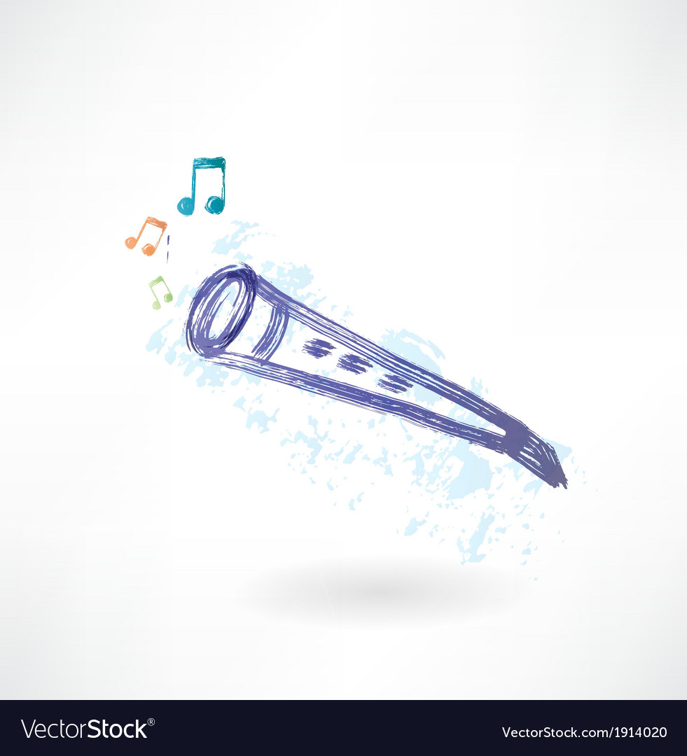Classic flute grunge icon vector | Price: 1 Credit (USD $1)