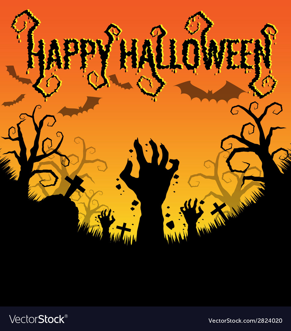 Halloween background with zombies hand vector | Price: 1 Credit (USD $1)