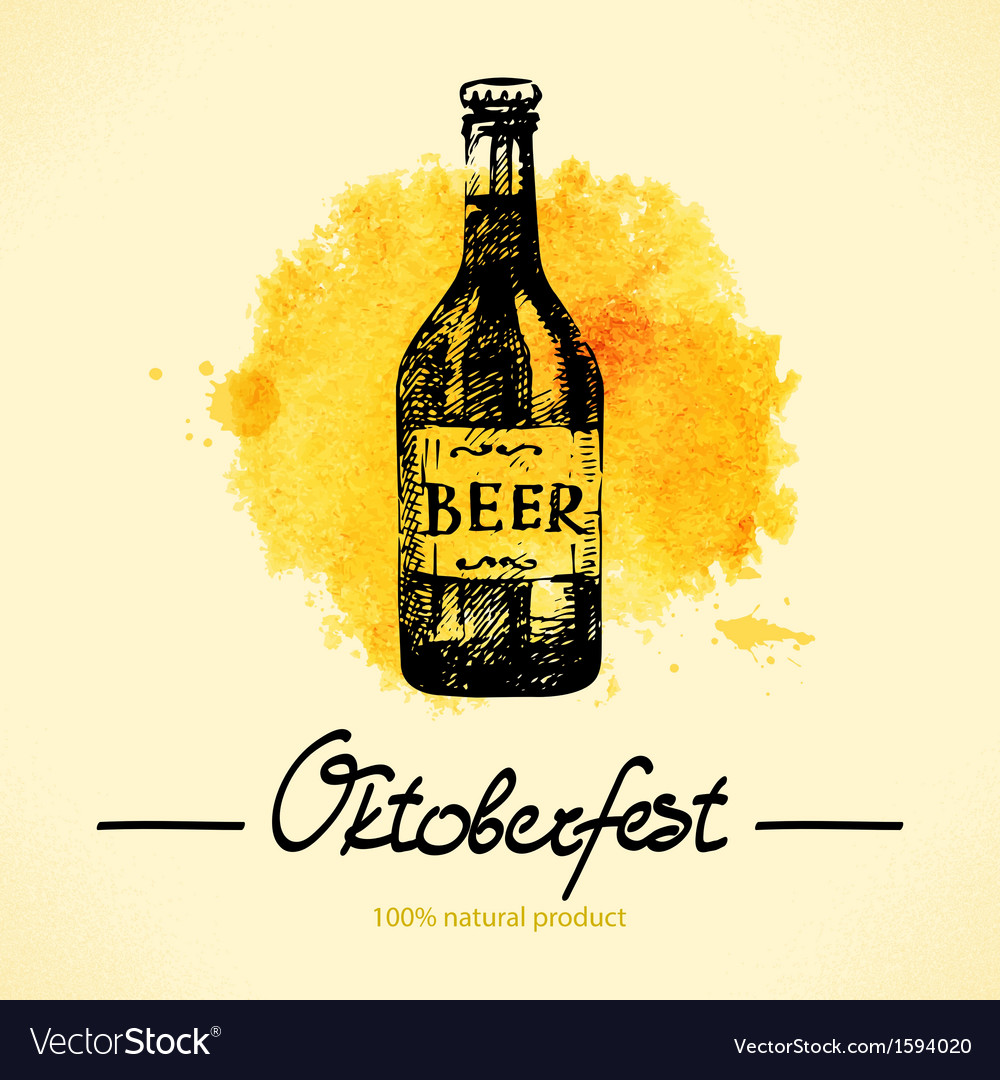 Oktoberfest hand drawn watercolor background vector | Price: 1 Credit (USD $1)