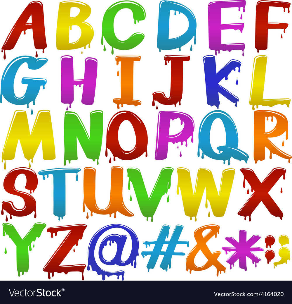 Rainbow coloured letters of the alphabet vector | Price: 1 Credit (USD $1)