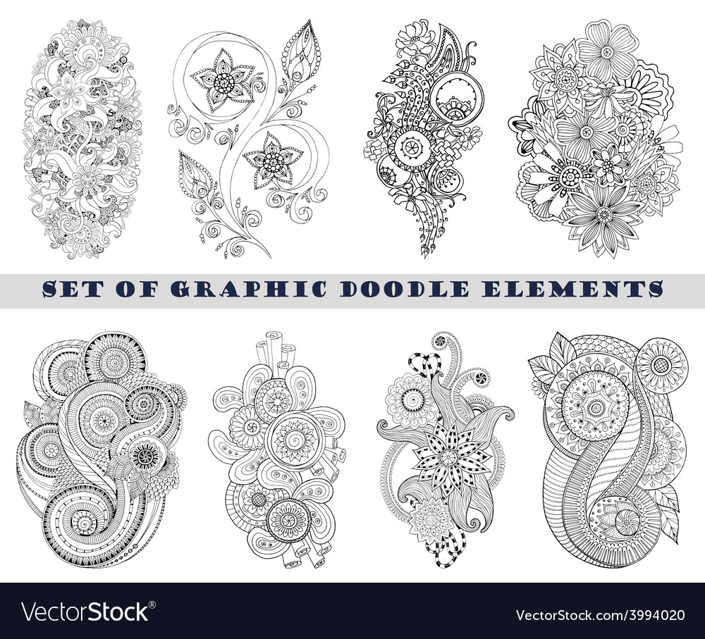 Set of henna paisley mehndi doodle element vector | Price: 1 Credit (USD $1)