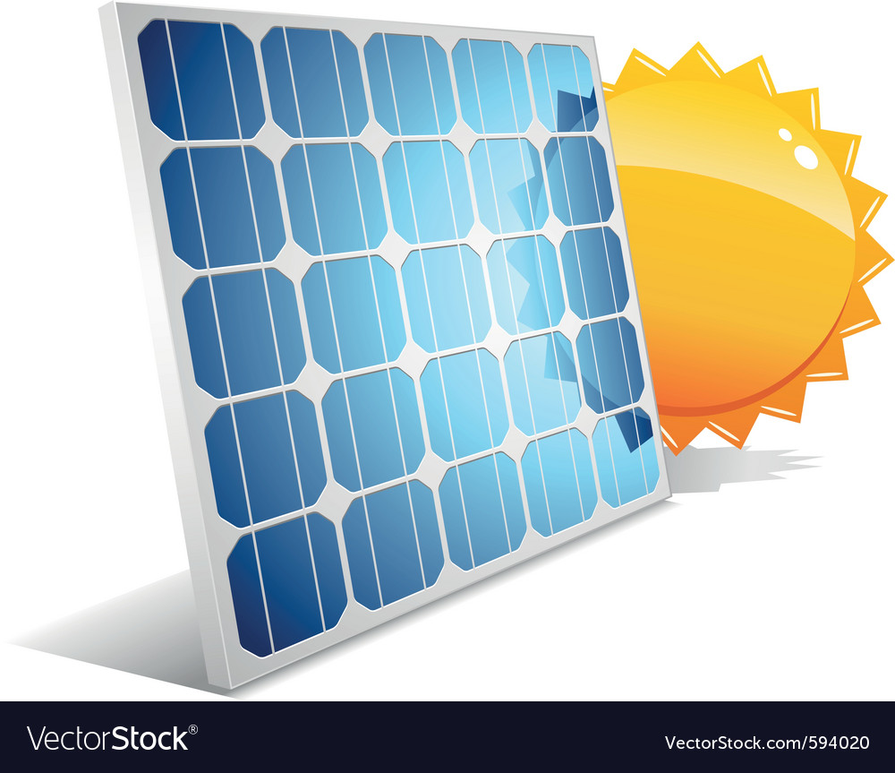 Solar panel with sun vector | Price: 1 Credit (USD $1)