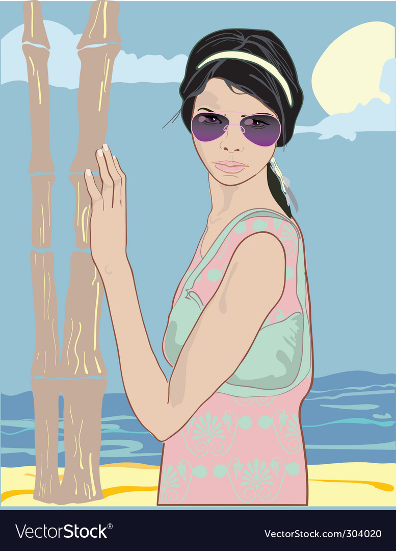 Summer pretty girl vector | Price: 3 Credit (USD $3)