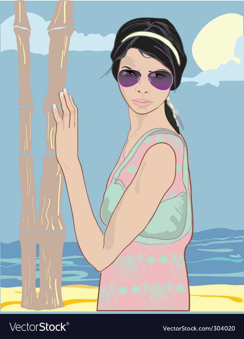 Summer pretty girl vector | Price: 3 Credit (USD $3)