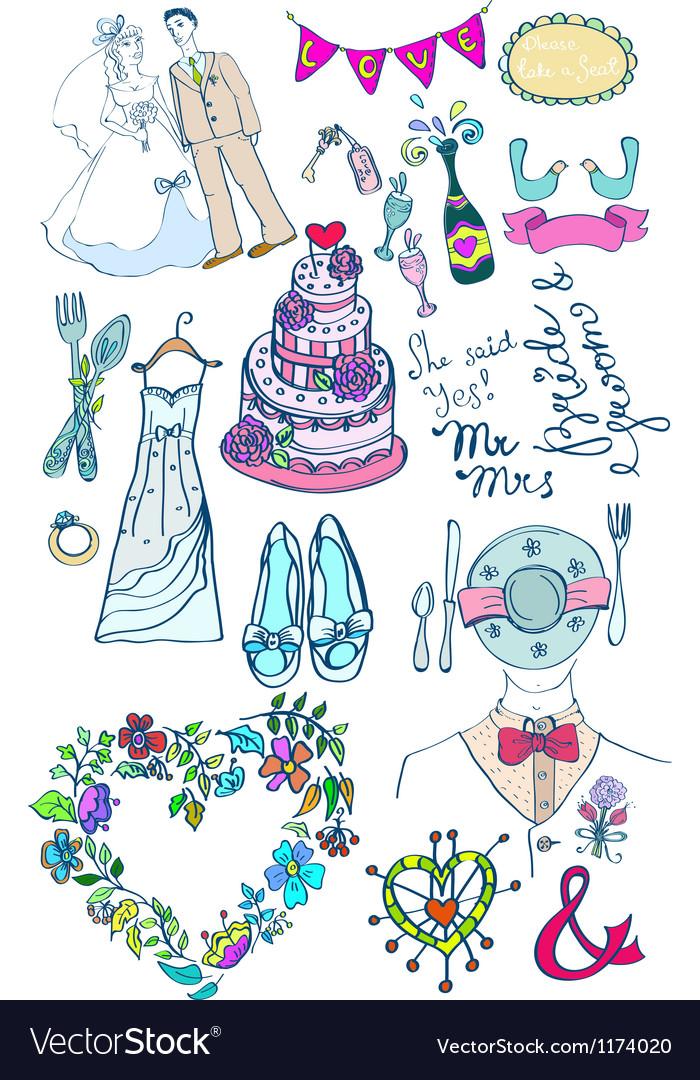 Wedding doodle color set vector | Price: 1 Credit (USD $1)
