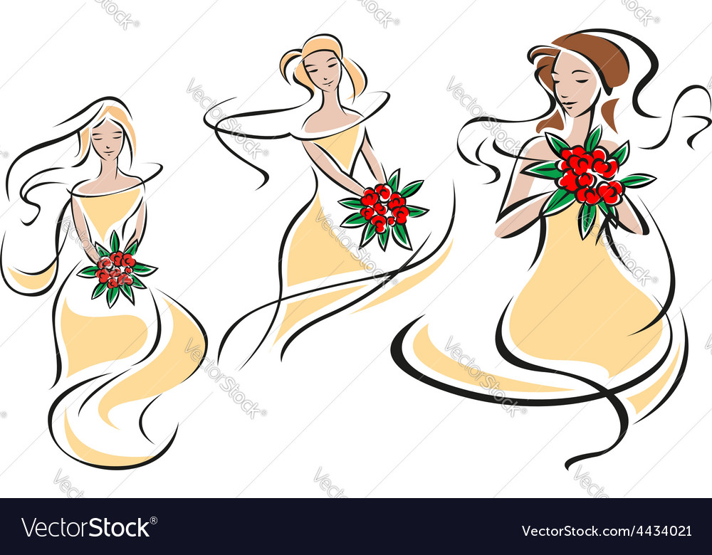 Brides or bridesmaids silhouettes with flowers vector | Price: 1 Credit (USD $1)
