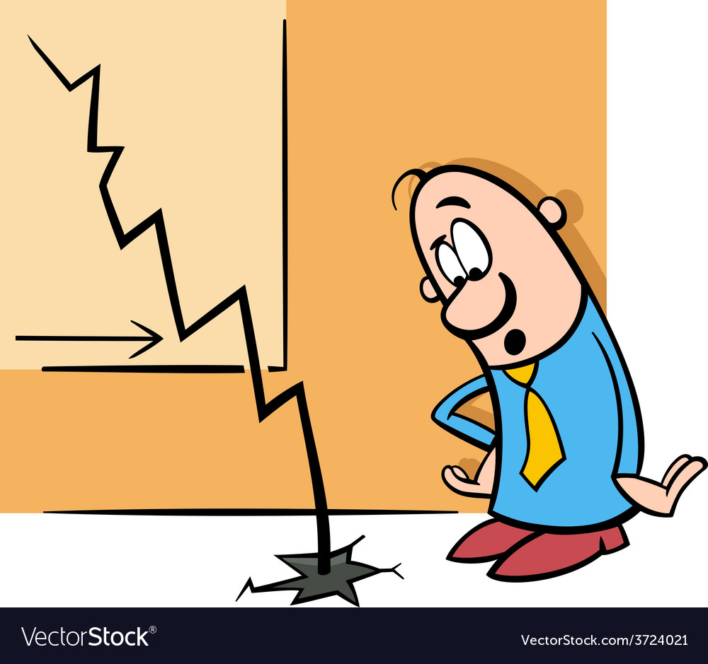 Businessman and economic crisis cartoon vector | Price: 1 Credit (USD $1)