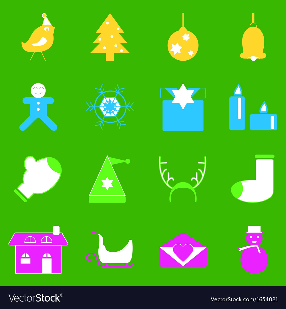 Christmas colorful icons on green background vector | Price: 1 Credit (USD $1)