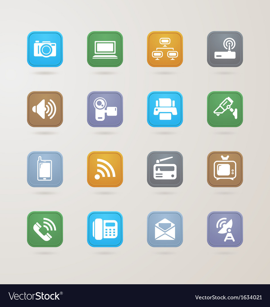 Communication and media icons set vector | Price: 1 Credit (USD $1)