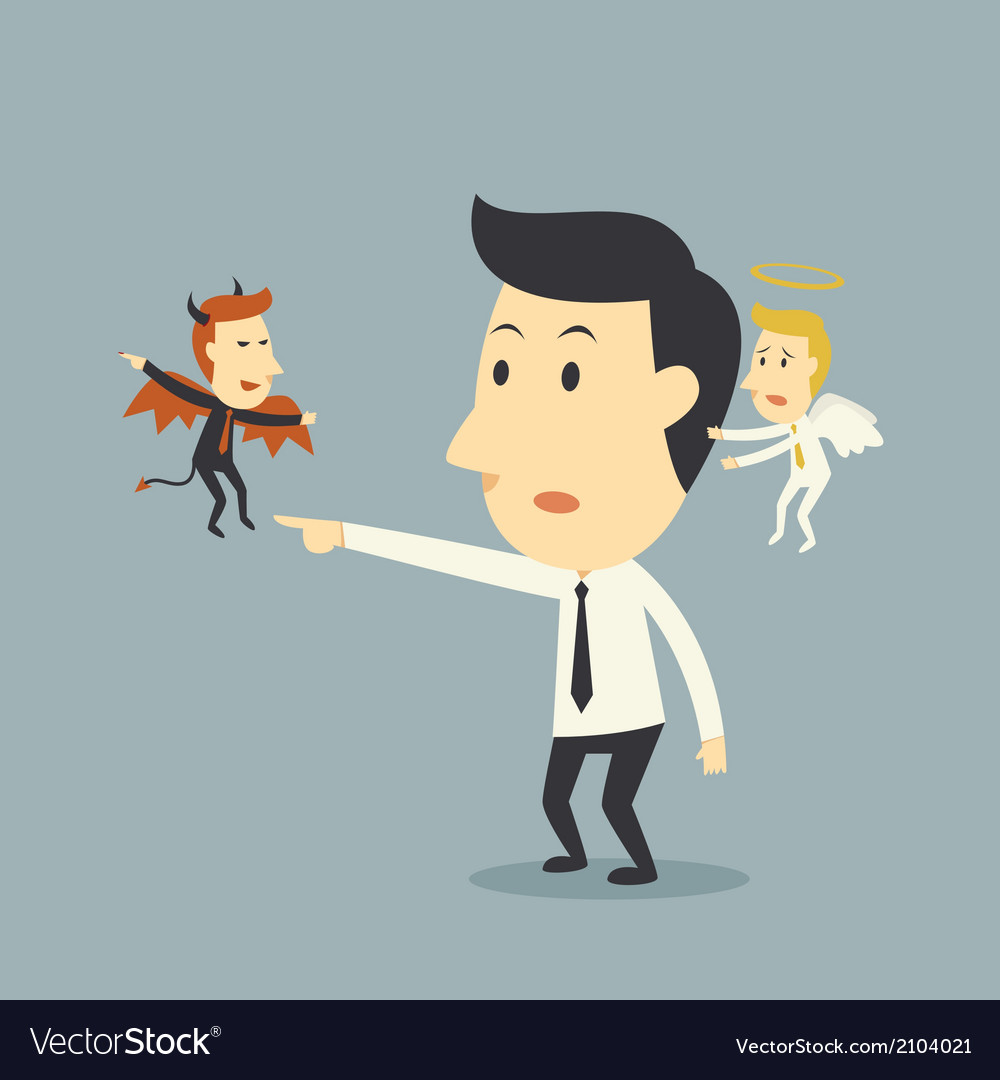 Devil and angel with businessman vector | Price: 1 Credit (USD $1)