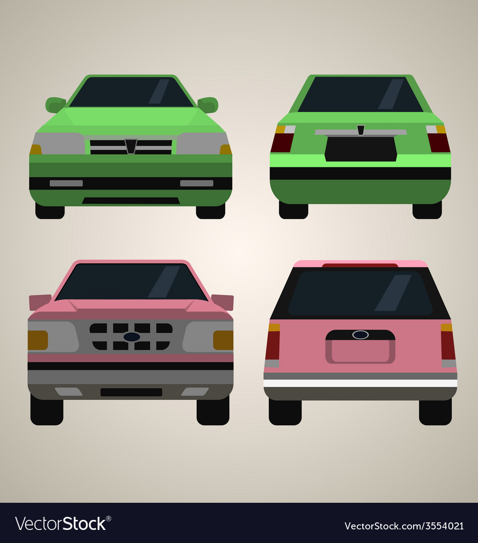 Flat cars front and back vector | Price: 1 Credit (USD $1)