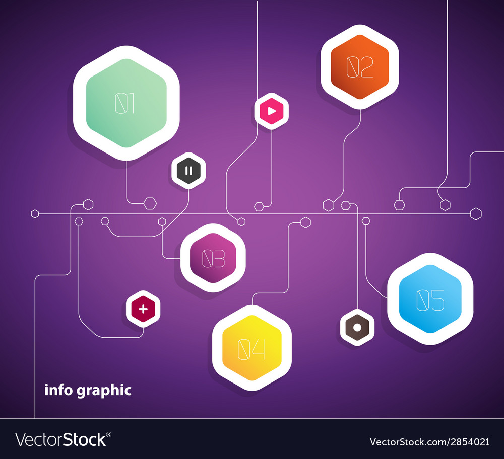 Flat design template with hexagon shape bubbles vector | Price: 1 Credit (USD $1)