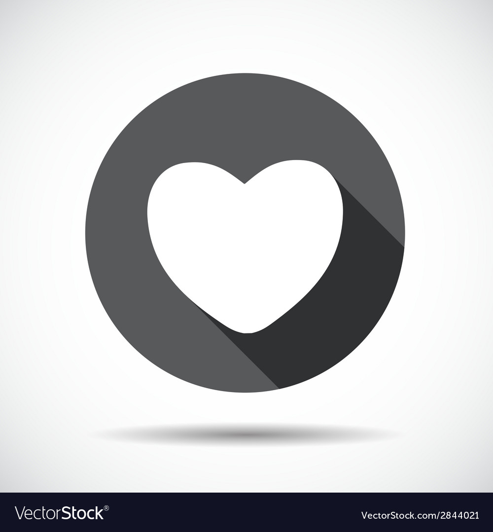Heart flat icon with long shadow vector | Price: 1 Credit (USD $1)